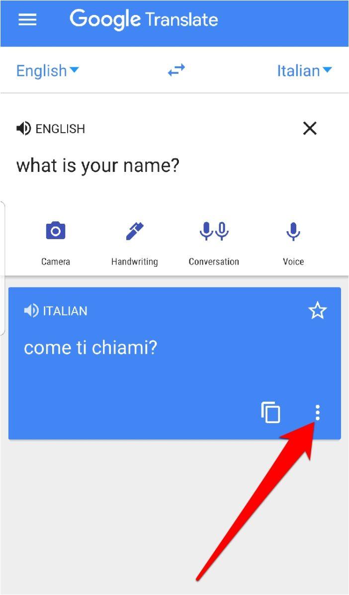 Aplicativo do Google Tradutor em tela cheia com três pontos