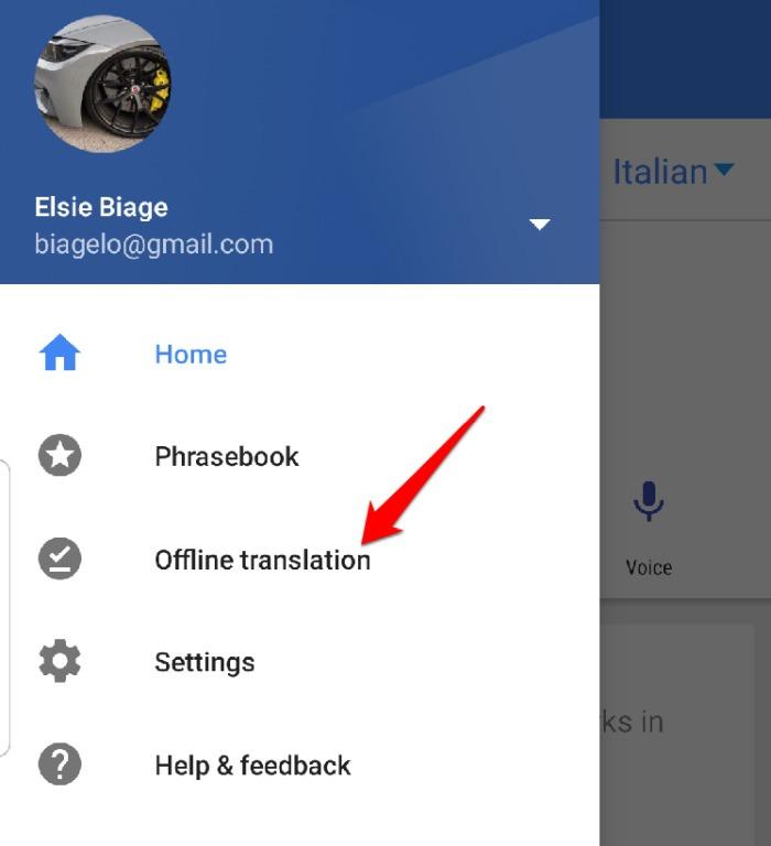 Configurações do menu do aplicativo Google Tradutor Tradução offline
