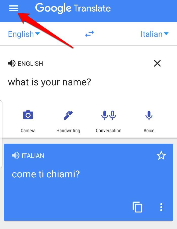 Menu do aplicativo Google Translate
