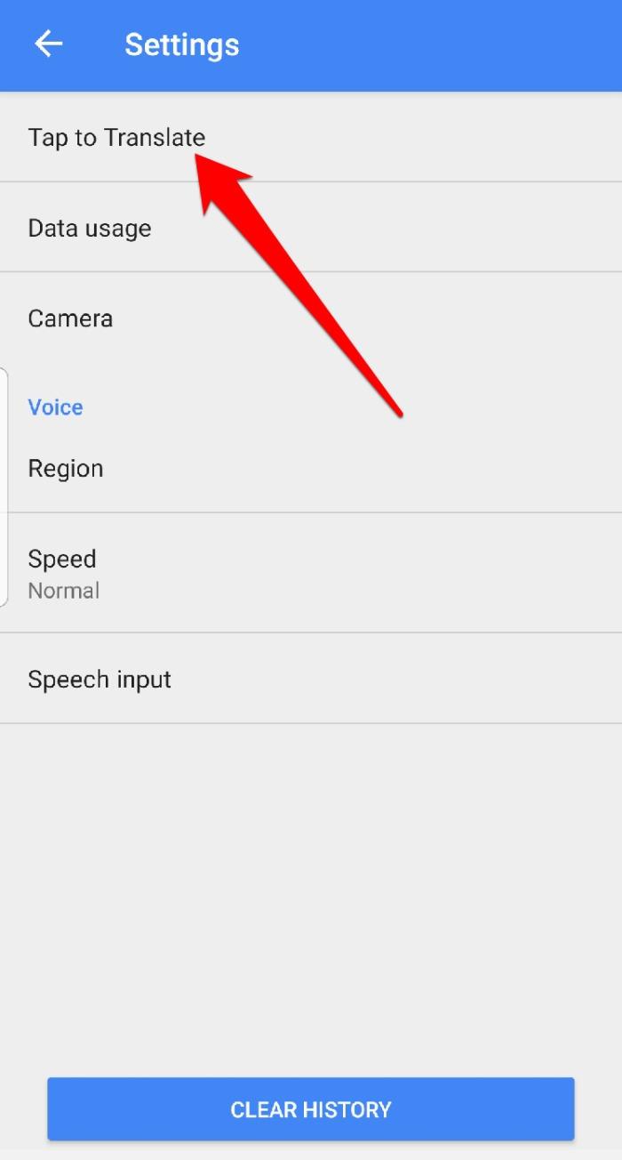 Configurações do menu do aplicativo Google Translate Toque em Traduzir