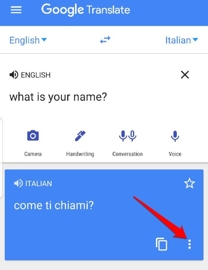 Menu do aplicativo Google Translate Tela cheia