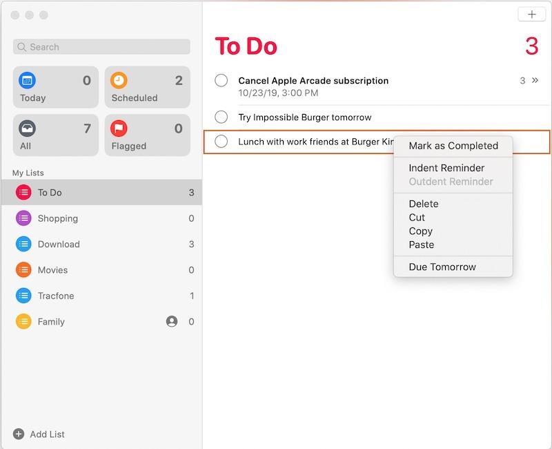Fazer subtarefas Apple Lembretes Recuo do Mac