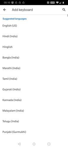 Lista de idiomas do teclado
