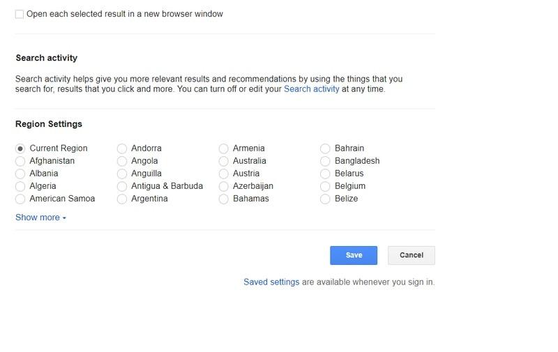 Configurações de Pesquisa do Google Salvar