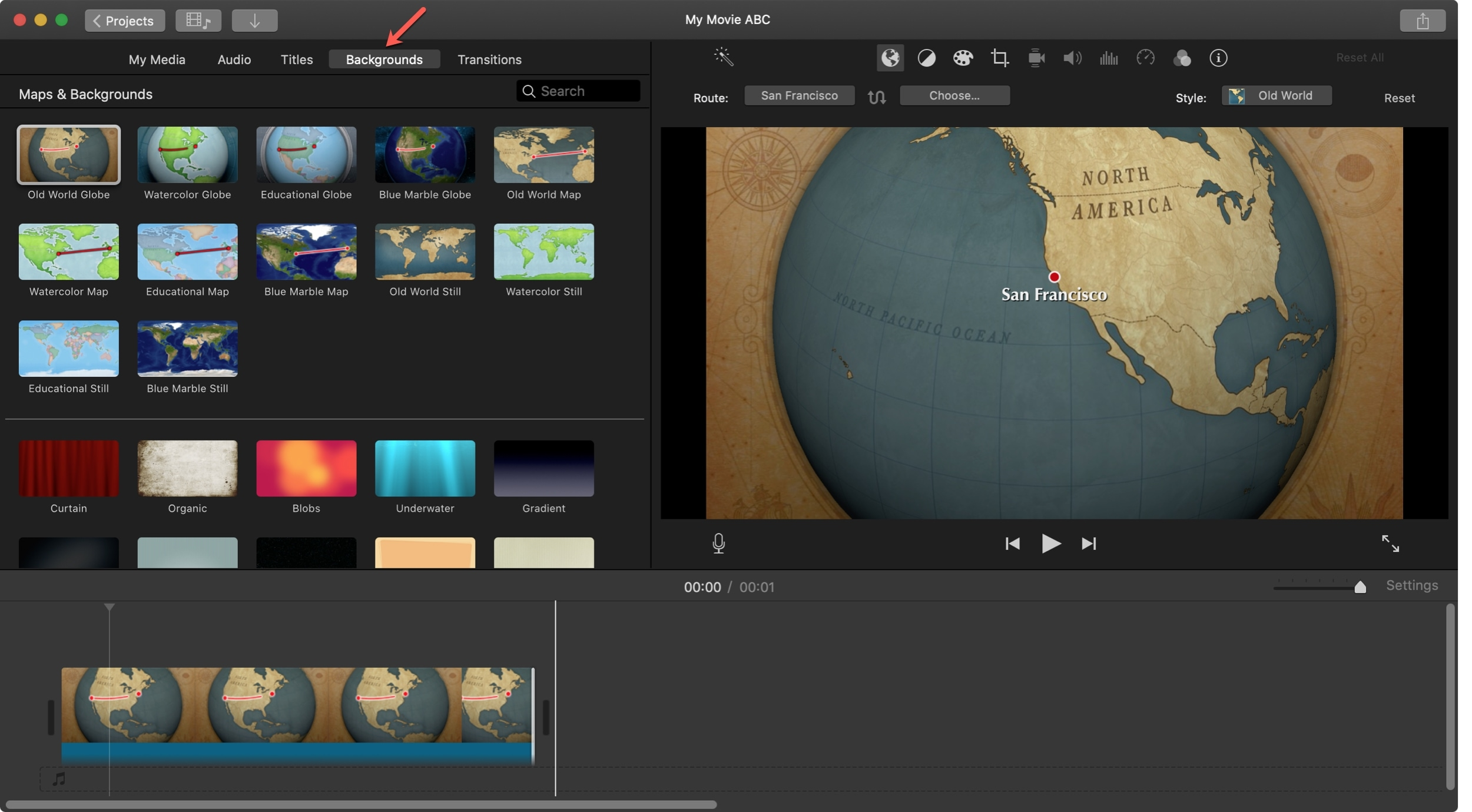 Adicionar plano de fundo animado do mapa iMovie Mac