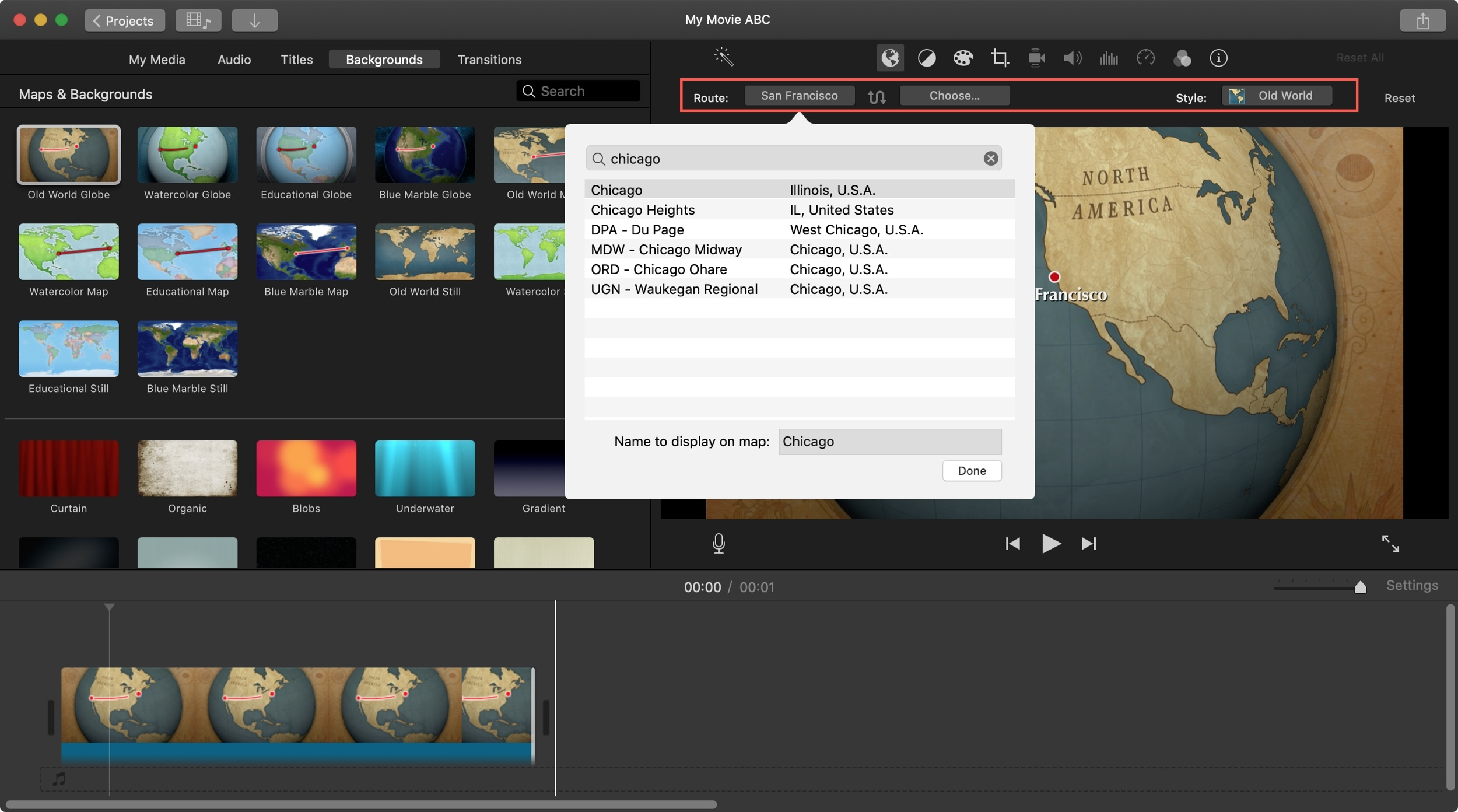 Rota do fundo animado do mapa iMovie Mac
