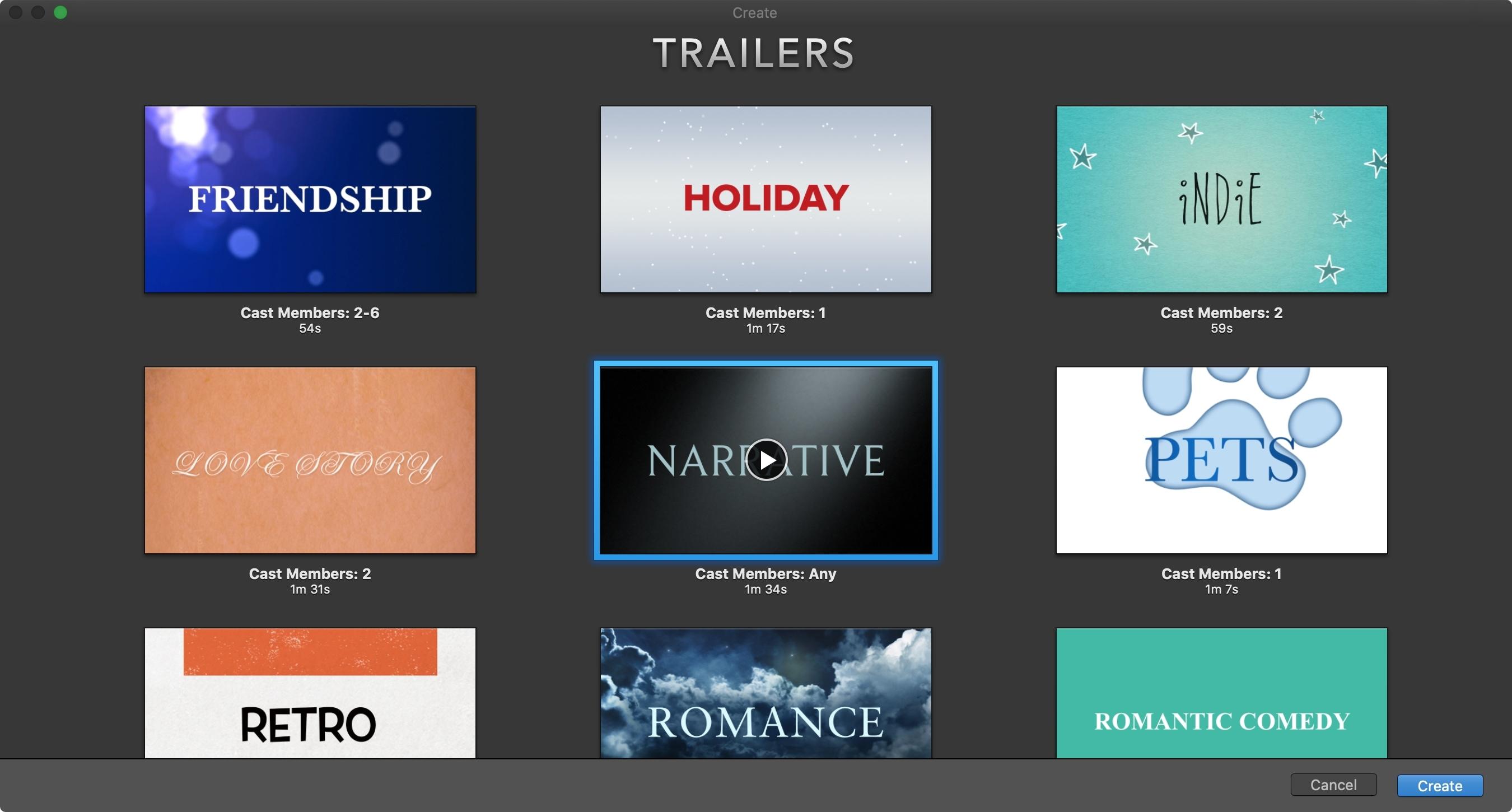 Criar novo trailer iMovie Mac
