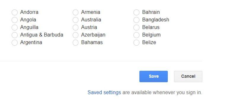 Opção Salvar preferência de pesquisa do Google