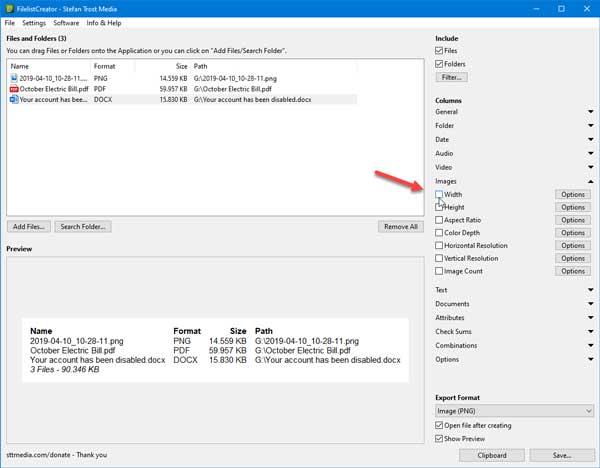 Crie uma lista de arquivos e pastas em Windows PC usando FilelistCreator