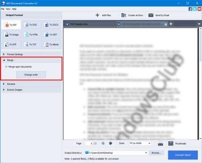 O AVS Document Converter permite converter arquivos entre DOC, PDF, DOCX, RTF, TXT, HTML, etc. 4