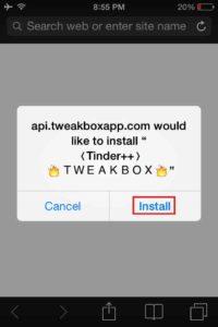 Clique em Instalar para fazer o download do Tinder-Plus-IPA