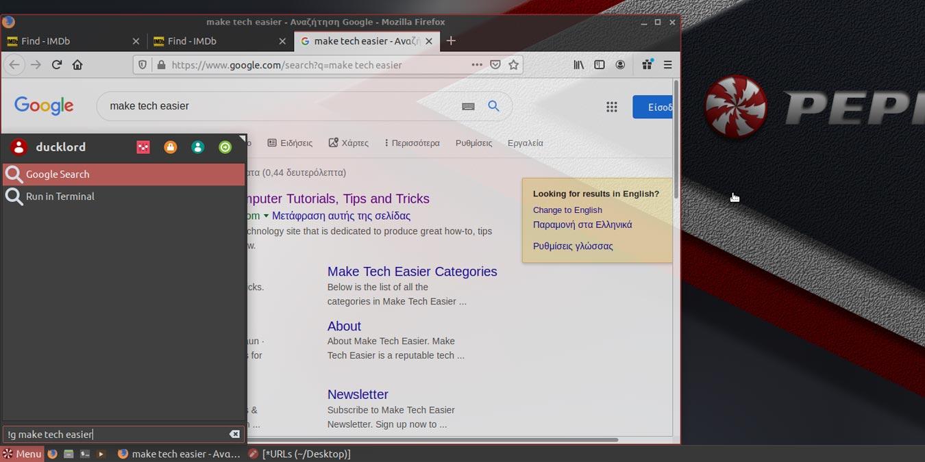 Como adicionar a Pesquisa do Google ao menu principal do Peppermint