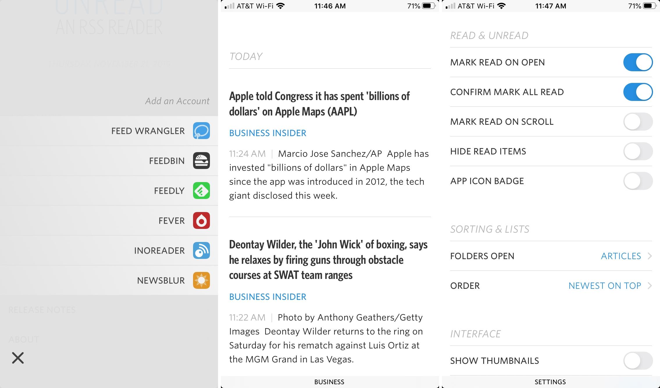 Leitor de RSS para iPhone não lido