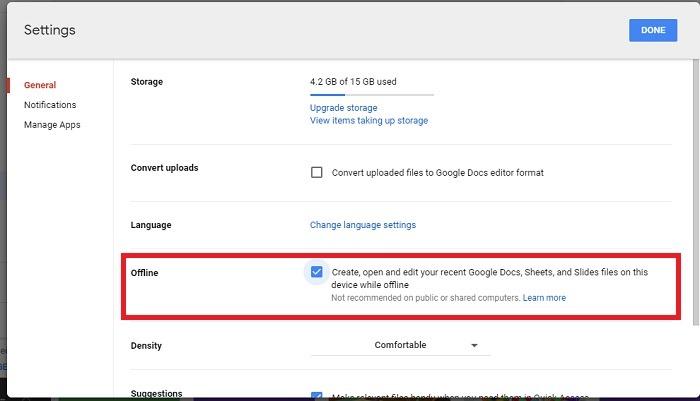 Trabalho offline do Google Drive