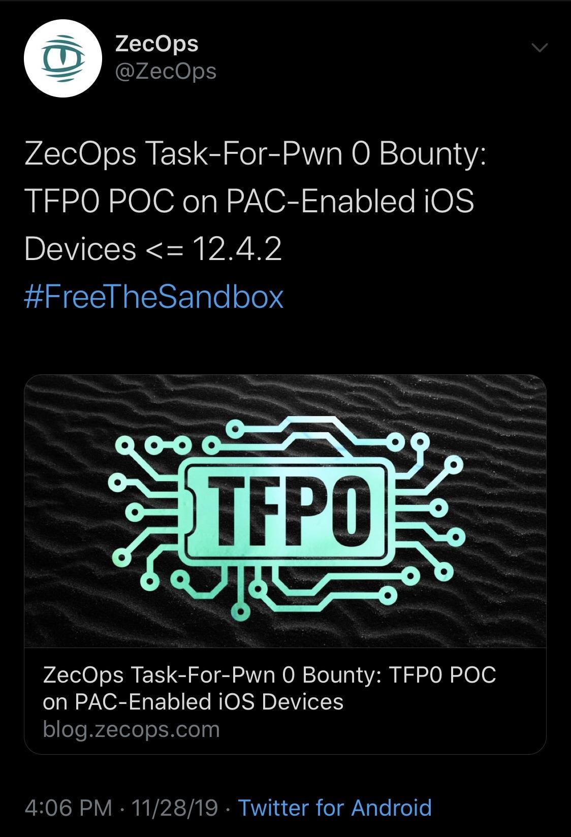 """O novo POC tfp0 abrange o iOS 12.4.1 & amp; 12)4.2 em """"todos os dispositivos iOS desde A12"""" 2"""