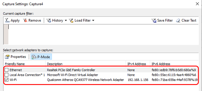 desmarque wifi nas configurações de captura