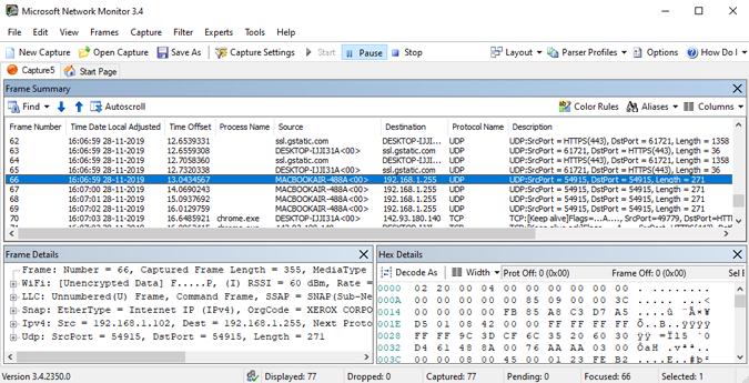 pacotes wifi sendo compatíveis com o monitor de rede da microsoft