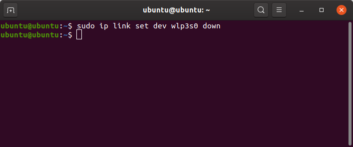 comando ip para desligar a interface wifi