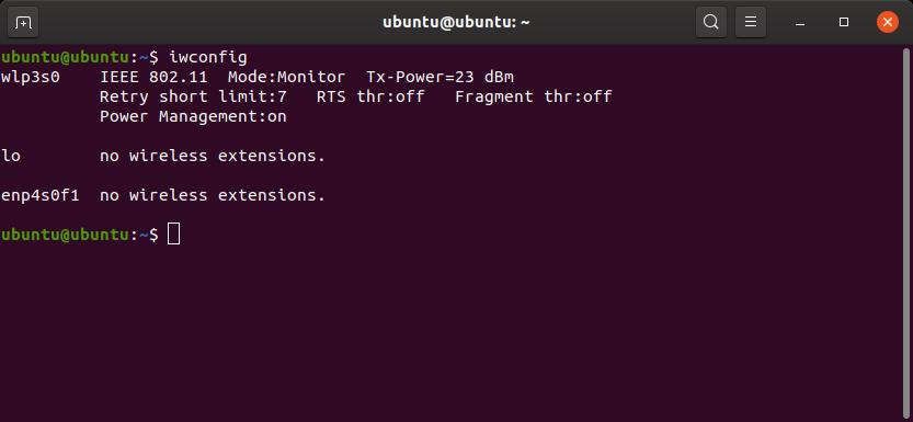 modo wifi e nome da interface usando o comando iwconfig