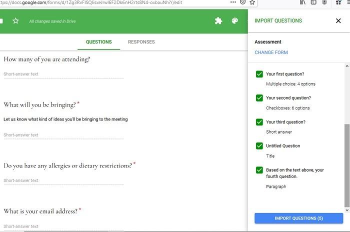 Importando perguntas diretamente do formulário do Google