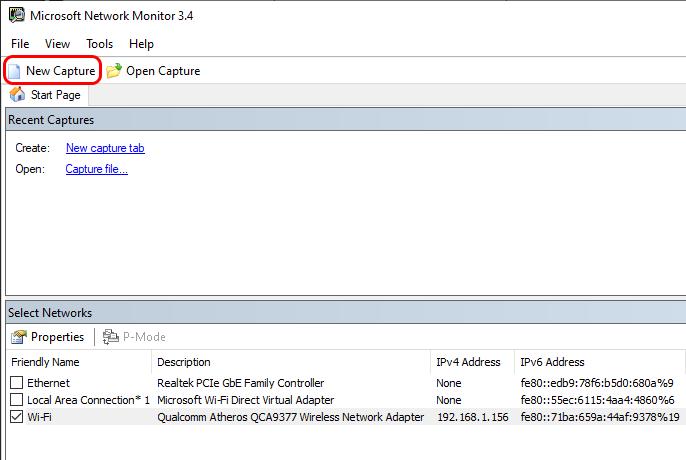 home page do monitor de rede da microsoft