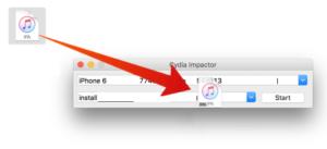 Arraste e solte o Snapchat iPA no Cydia Impactor
