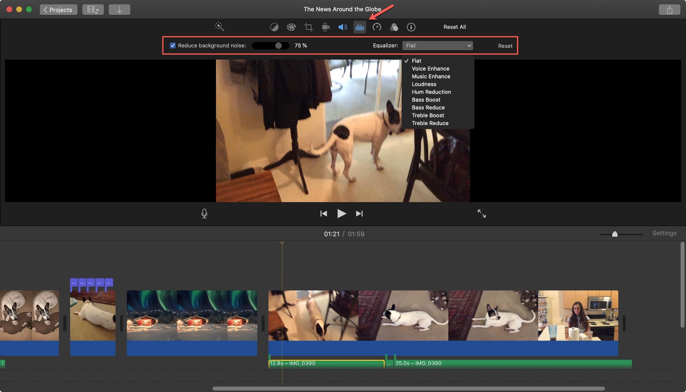 iMovie Remover ruído de fundo Mac