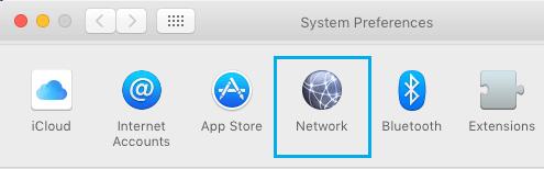 Opção de rede na tela Preferências do sistema no Mac