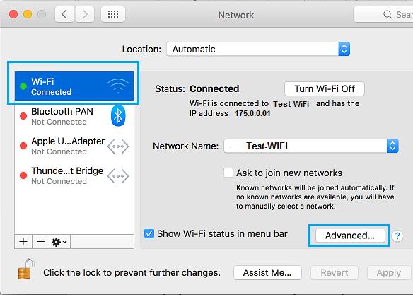 Opção avançada na tela Configurações de rede no Mac