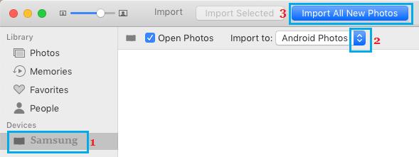 Importar todas as fotos do telefone Android para Mac