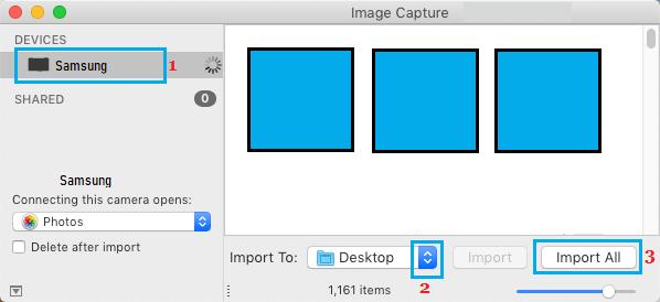 Importar todas as fotos do Android para Mac usando o Image Capture