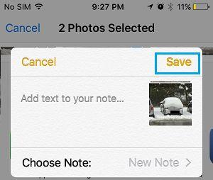 Salvar fotos no Notes no iPhone