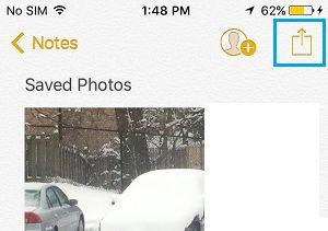 Opção de compartilhamento no aplicativo Notes no iPhone