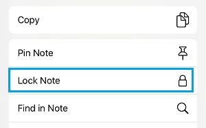 Bloquear Note Opção no aplicativo Notes para iPhone