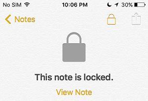 Visão Note Opção no iPhone