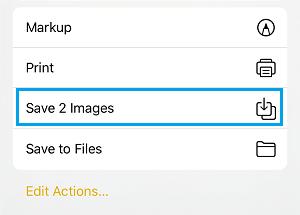 Opção Salvar imagens iPhone Notes App