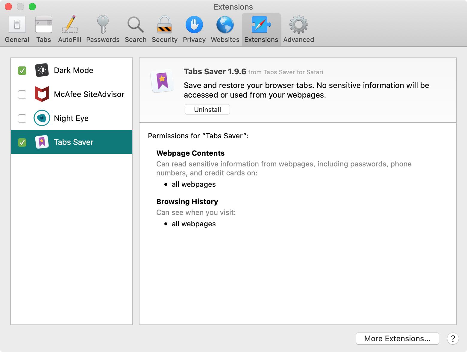 Guia Extensões para Mac das Preferências do Safari