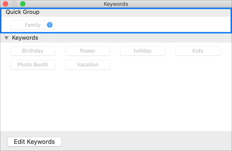 Fotos do Gerenciador de palavras-chave do grupo rápido no Mac