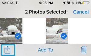 Opção Compartilhar Fotos no iPhone