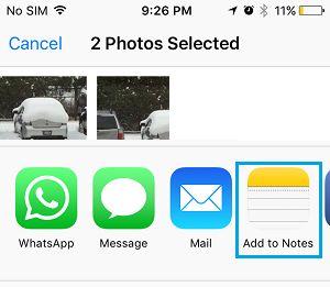 Opção Adicionar fotos ao Notes no iPhone