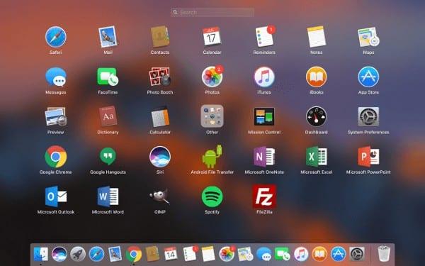 macOS: redefinir o pedido de aplicativos da barra de ativação 1