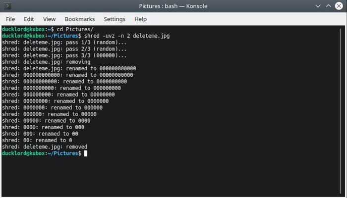 Fragmento de exclusão de arquivo do Linux