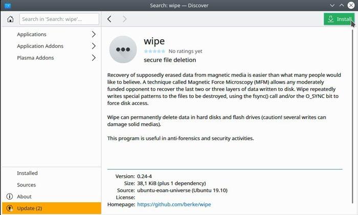 Instalação de limpeza de exclusão de arquivo do Linux