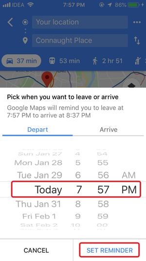 Lembrete de tráfego do Google Maps para iPhone