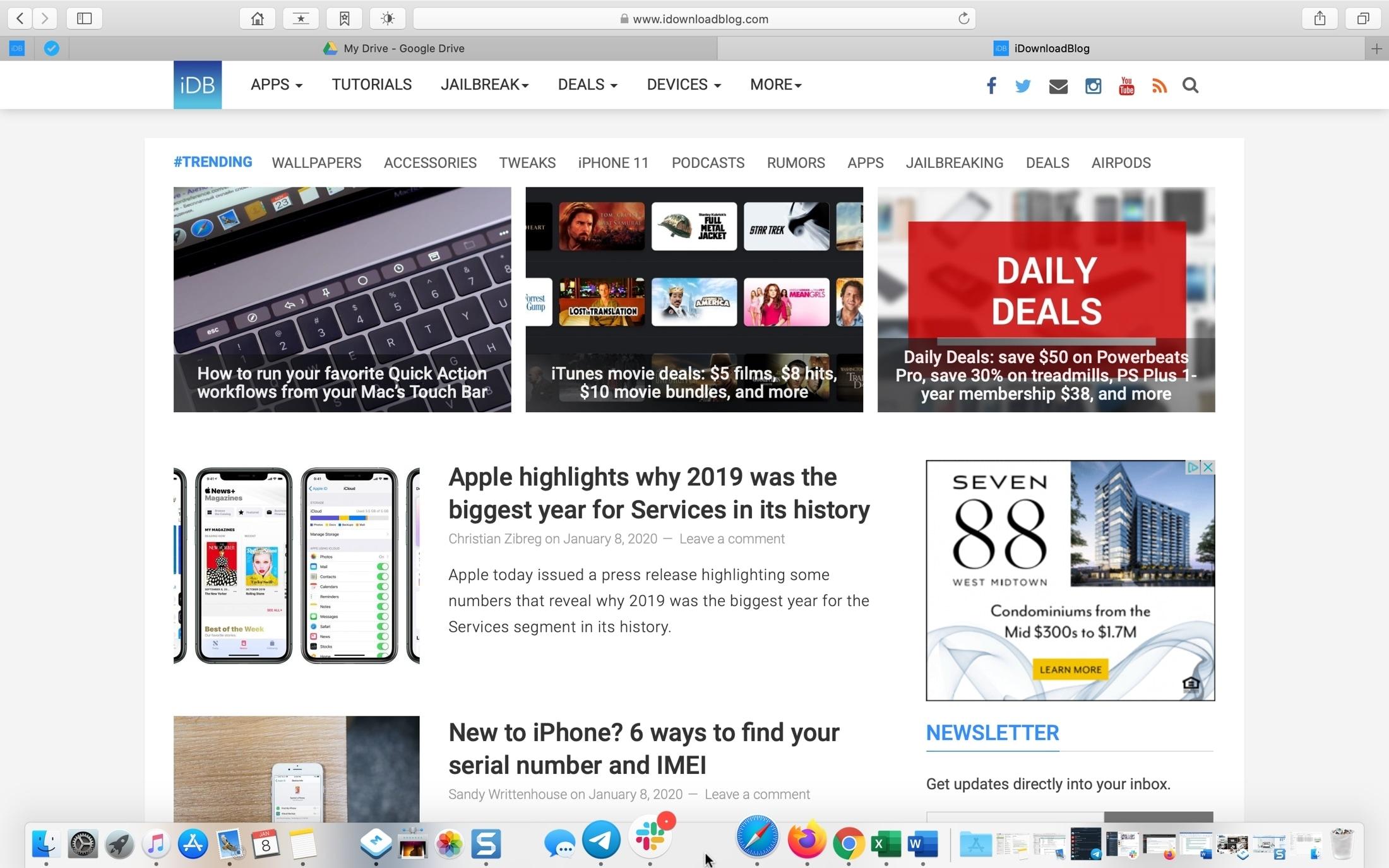 Dock para Safari em tela cheia