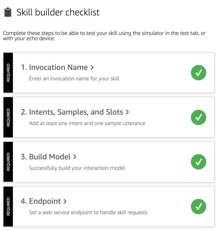 lista de verificação do construtor de habilidades
