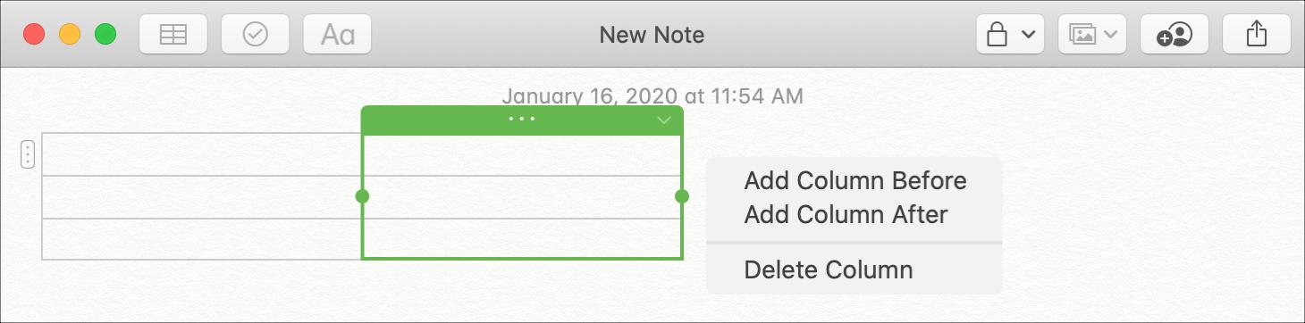 Adicionar notas da tabela de colunas Mac