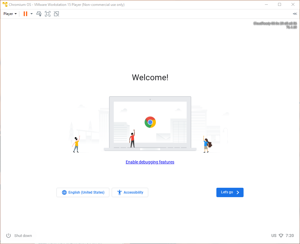 Como instalar o Chrome OS Windows 10 Tela de Introdução