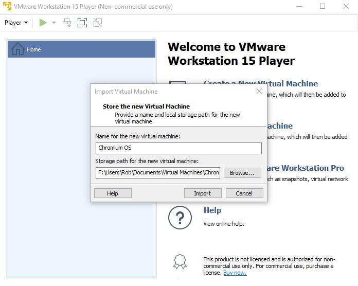 Como instalar o Chrome OS Windows 10 Importar máquina virtual
