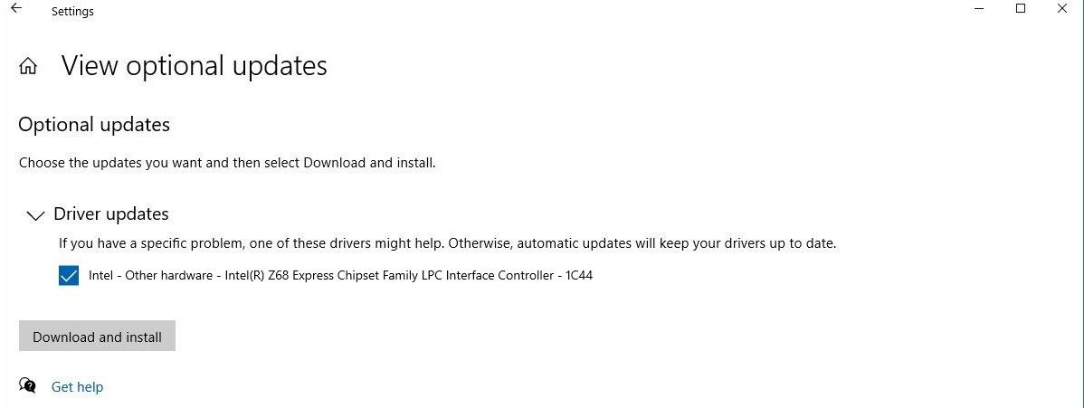 Windows  10 atualizações de driver